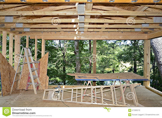 Building A New Porch Stock Photo - Image: 57589570