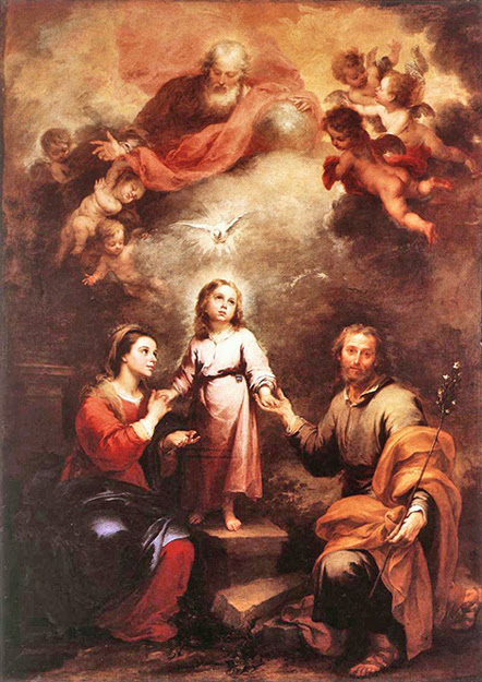 Bartolome Esteban Murillo of Seville, Spain - The Heavenly and Earthly Trinities, National Gallery, London, 1675.