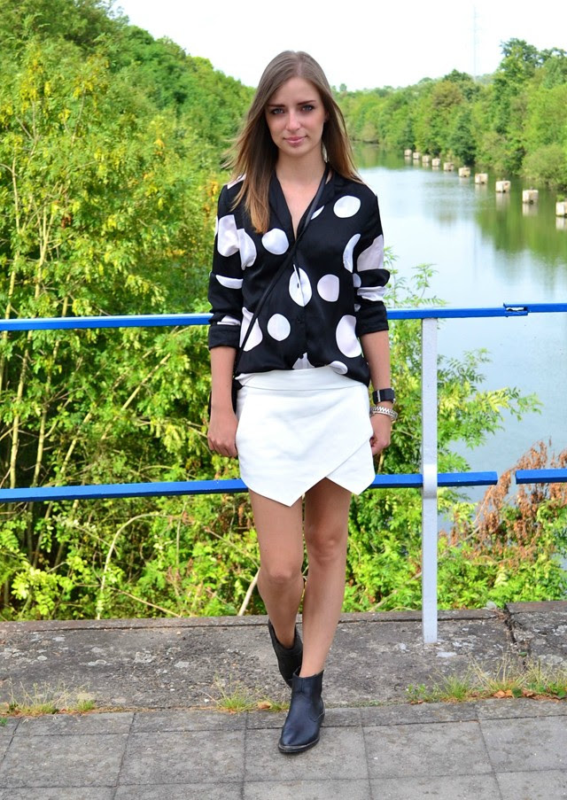 h&m trend dots shirt blouse zara skort white 2013 western biker boots divided belgium belgie fashion blogger silver hardware jewelry zipper esprit watch