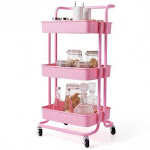 3-Tier Utility Cart Storage Rolling Cart with Casters-Pink - Color: Pink