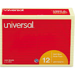 "Universal Standard Self-Stick Notes, 4"" x 6"", Lined, Yellow,"