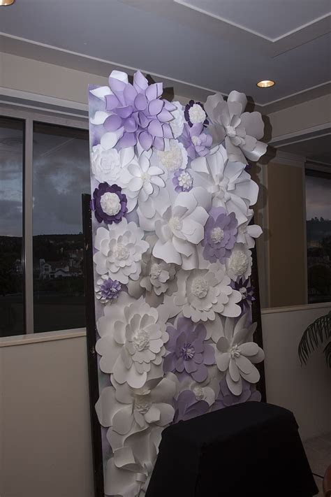 Paper floral wall   photo booth backdrop   purple   white