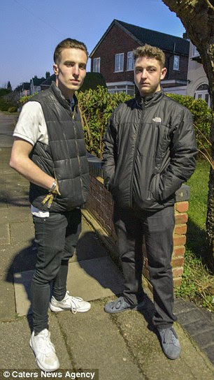 Heroes: Christian Blundell, 17, Callum, 18, (both pictured) and prison guard Daniel Birch risked their lives to save a pregnant woman after she was stabbed in Sutton Coldfield, West Midlands, yesterday