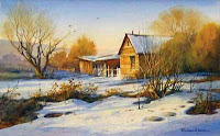 Best of Show painting of Utah Snow scene by Roland Lee
