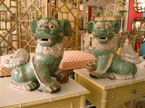 Pair Vintage Large Foo Dogs