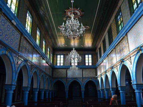 Inside the El Ghriba synagogue, on the southern Tunisian
