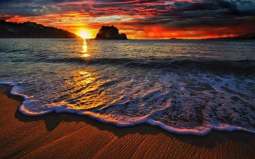 Sunset, shoreline