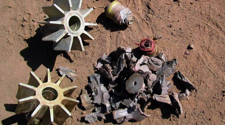 Jammu: Mortar shells fired from across the LOC by Pakistan in village Panjgrain, Rajouri district in Jammu on Thursday. PTI Photo(PTI10_20_2016_000063A)