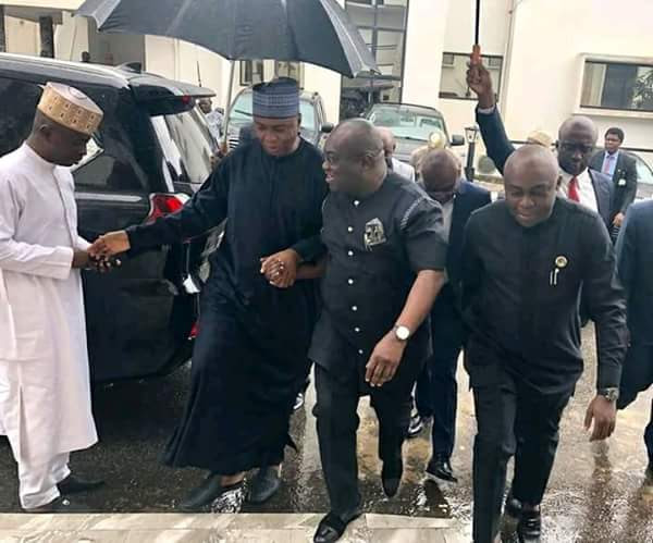 2019: Saraki Arrives Abia, Received By Governor Ikpeazu (Photos)