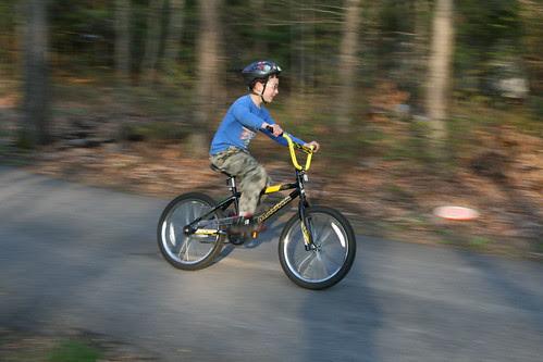 Adam flies on his bike