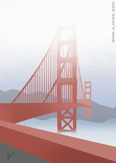 30 Day Drawing Challenge, most recent accomplishment, Desafio dos 30 dias de desenho, a vitória mais recente, pedalar de bicicleta até sausalito, atravessar a Golden Gate, San Francisco, by ila fox