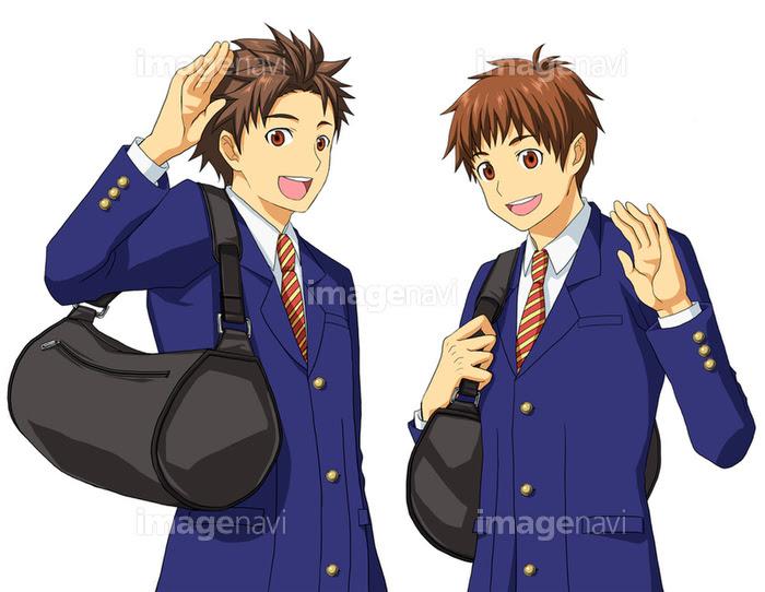 男子高校生二人組 バストアップ図の画像素材10146828 イラスト素材