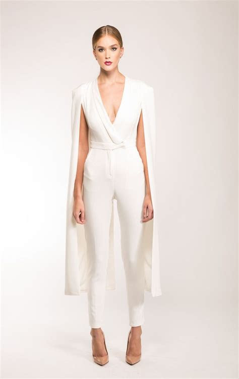 luxe  white cape jumpsuit tailored