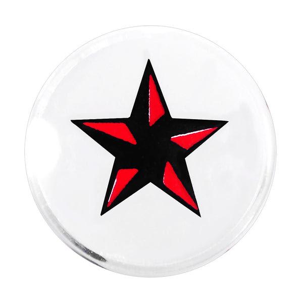 00 Gauge Black Red Nautical Star Acrylic Saddle Plug Bodycandy