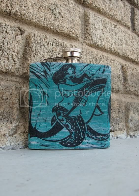 old school tattoo mermaid flask