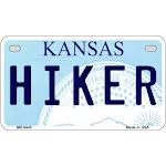 Smart Blonde MP-6645 Hiker Kansas Novelty Metal Motorcycle Plate - 7 x 4 in.