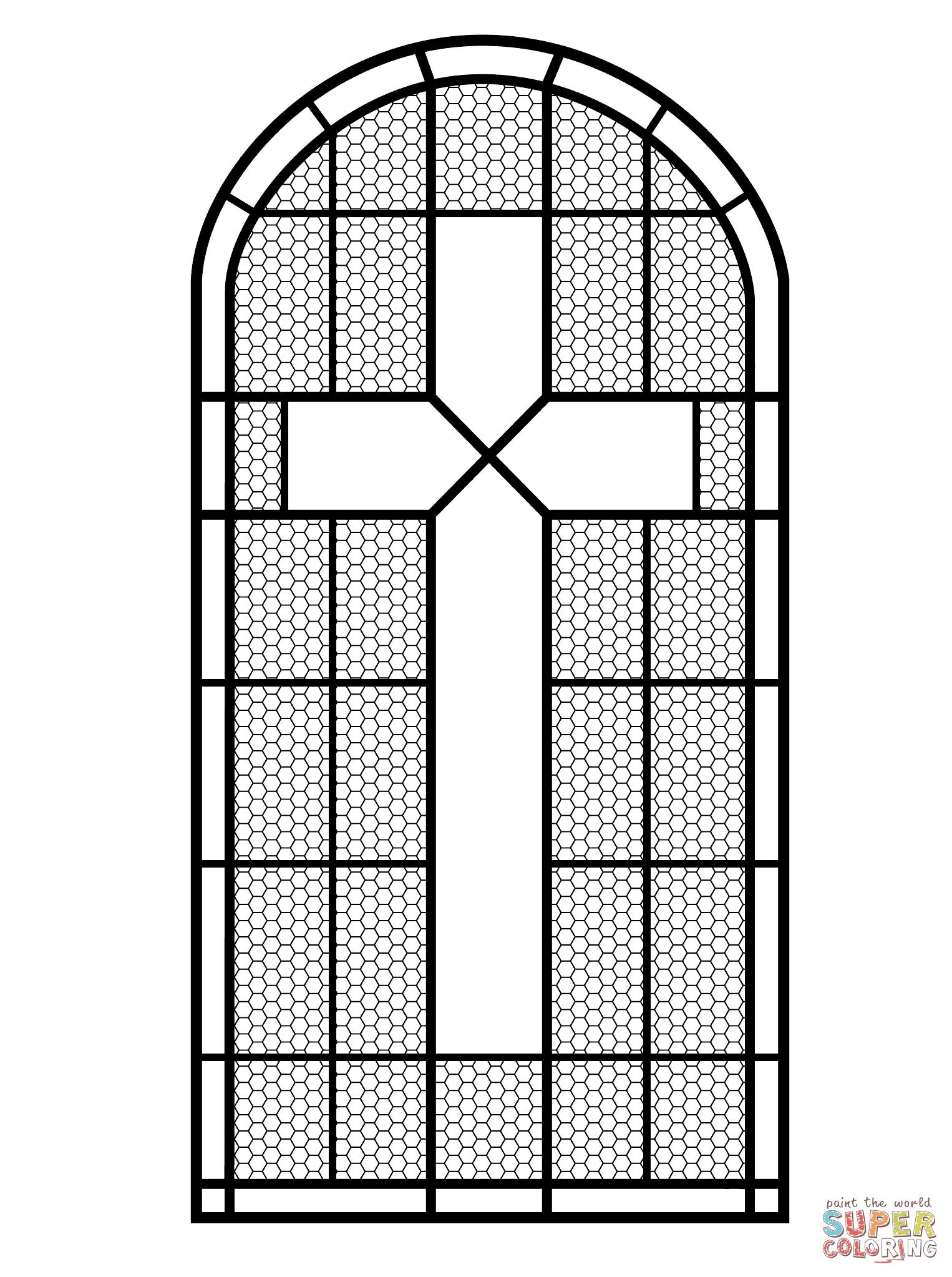 mewarna07 kleurplaat glas in lood raam
