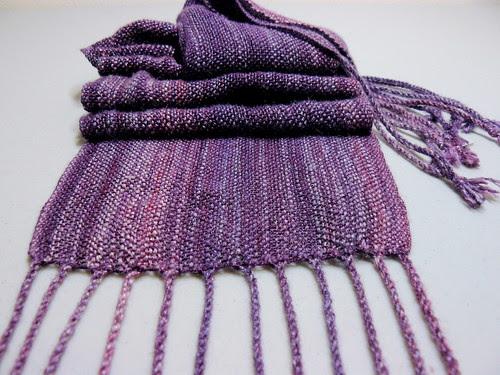 Handwoven Handspun Amethyst Silk Scarf