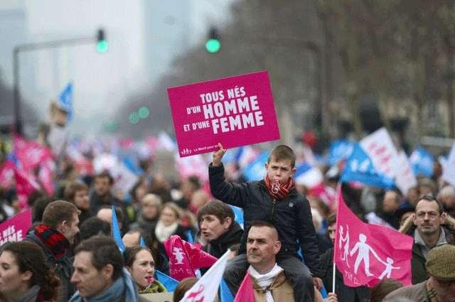 Criança carrega um cartaz escrito: 'Todos nascem de um homem e uma mulher' (AFP PHOTO / ERIC FEFERBERG )