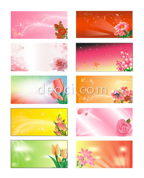 10 Vector Flowers Advertising The Panels Background Coreldraw Design
