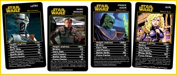 SotE characters from a custom set of Top Trumps. One of the few areas that Shadows merch didn't reach...