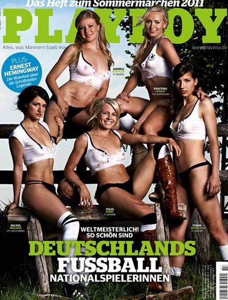 Jogadoras da seleção alemã de futebol posam nuas na Playboy
