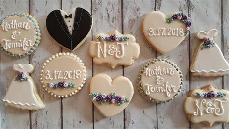 Nathan & jennifer wedding cookies   Hayley Cakes and