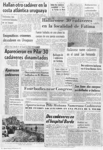 La prensa de la época da cuenta del hallazgo de cadáveres.