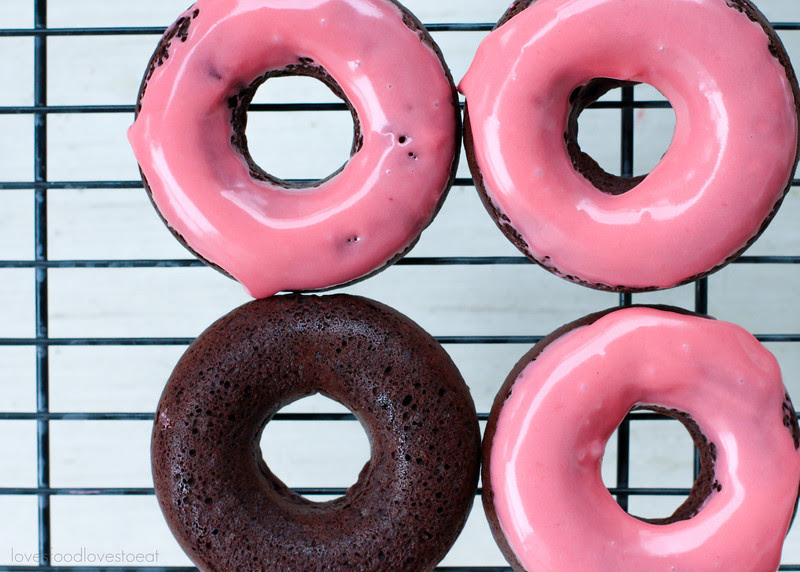 Baked Chocolate Cake Donuts with Raspberry Glaze // Loves Food, Loves to Eat