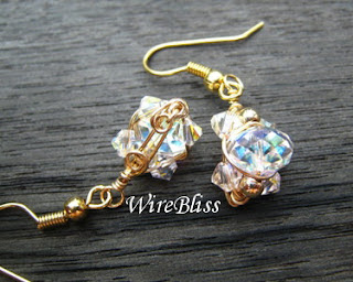 wire wrapped sparkly crystal earrings