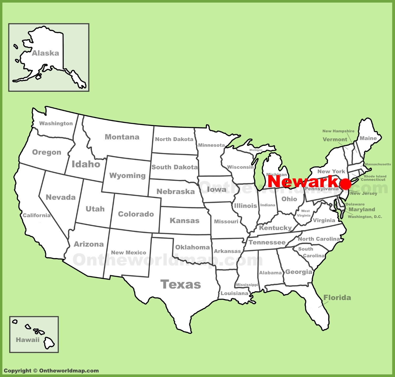 newark location on the us map