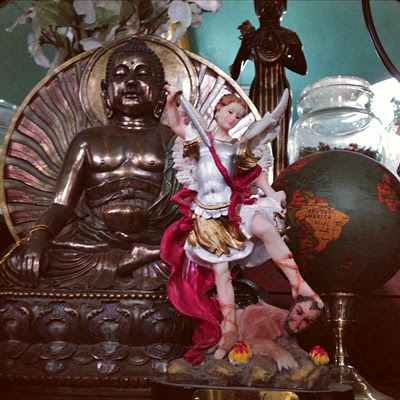 Michael-and-Buddha-Statues-at-the-Lucky-Mojo-Curio-Company