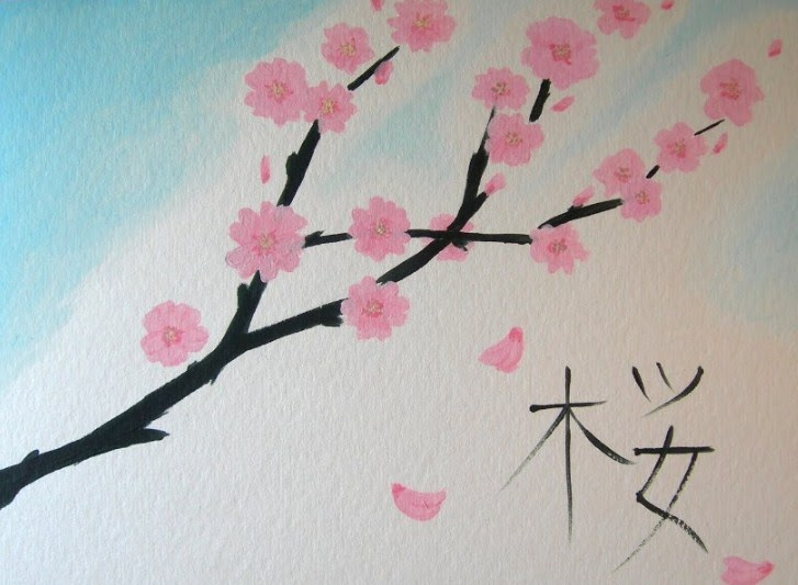Spesial 54 Gambar Lukisan Bunga Sakura Sederhana
