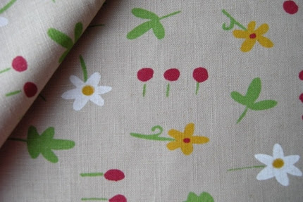Cotton linen blended fabric - Flower and leave