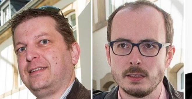 Combo de fotografías que muestra a Raphaël Halet, Antonine Deltour, ambos ex empleados de PwC y al periodista francés Edouard Perrin a su llegada al tribunal de Luxemburgo en el caso del escándalo fiscal LuxLeaks el pasado 4 de mayo de 2016. EFE/Julien Wa