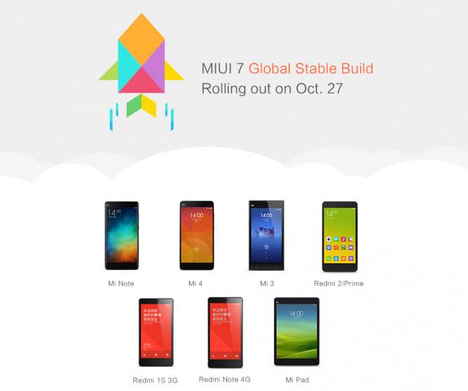 Mi Releases MIUI V7 Update to it's Range Of Smartphones