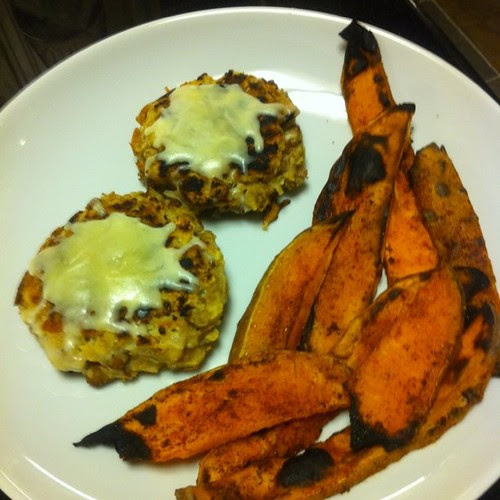 "Smothered Southern ""Falafel"" with Oven Sweet Potato Fire Fries"
