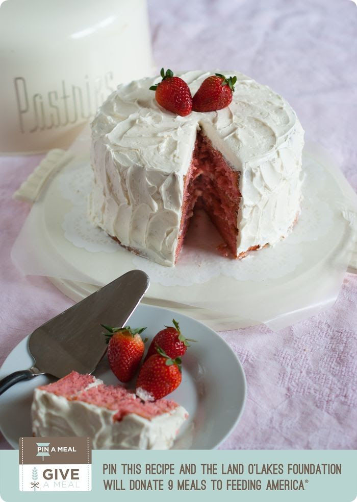 strawberry layer cake with amaretto swiss meringue buttercream ... each pin donates 9 meals to Feeding America #kitchenconvo #giveameal
