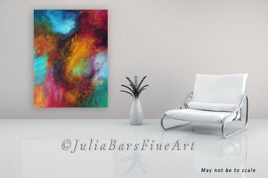 Colorful Abstract Painting Large Canvas 30x40 Red by JuliaBarsArt