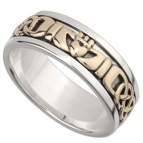 Irish Wedding Band   10k Gold and Sterling Silver Mens