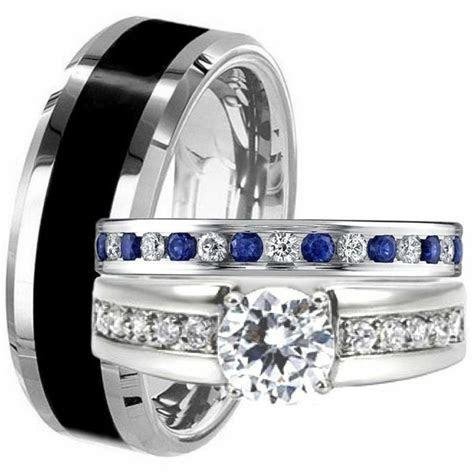 Men Black TITANIUM Women Blue Sapphire CZ Engagement Ring