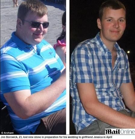 Jon antes (esquerda) e depois da dieta (direita)