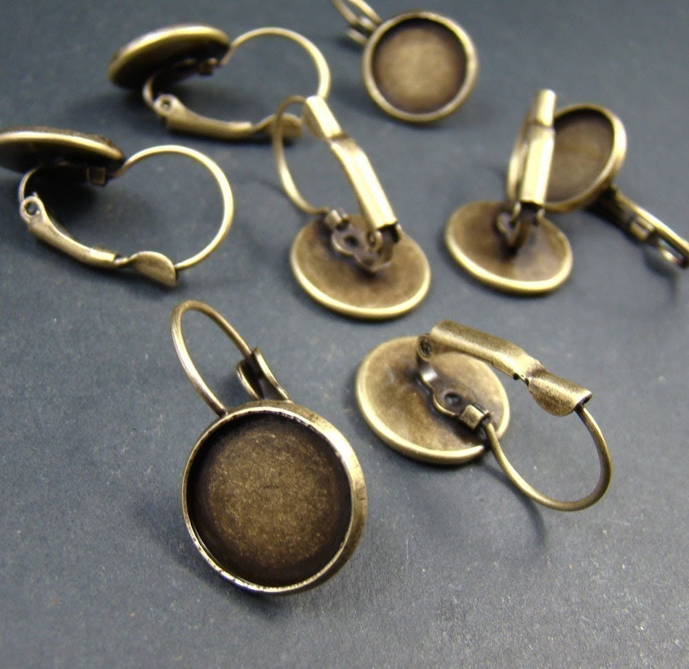 10pcs Antique Solid Brass French Earwires Hook With Round 12mm Pad EA611 - shareliving