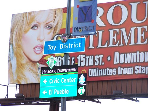 Toy District & Historic Downtown neighborhood sign