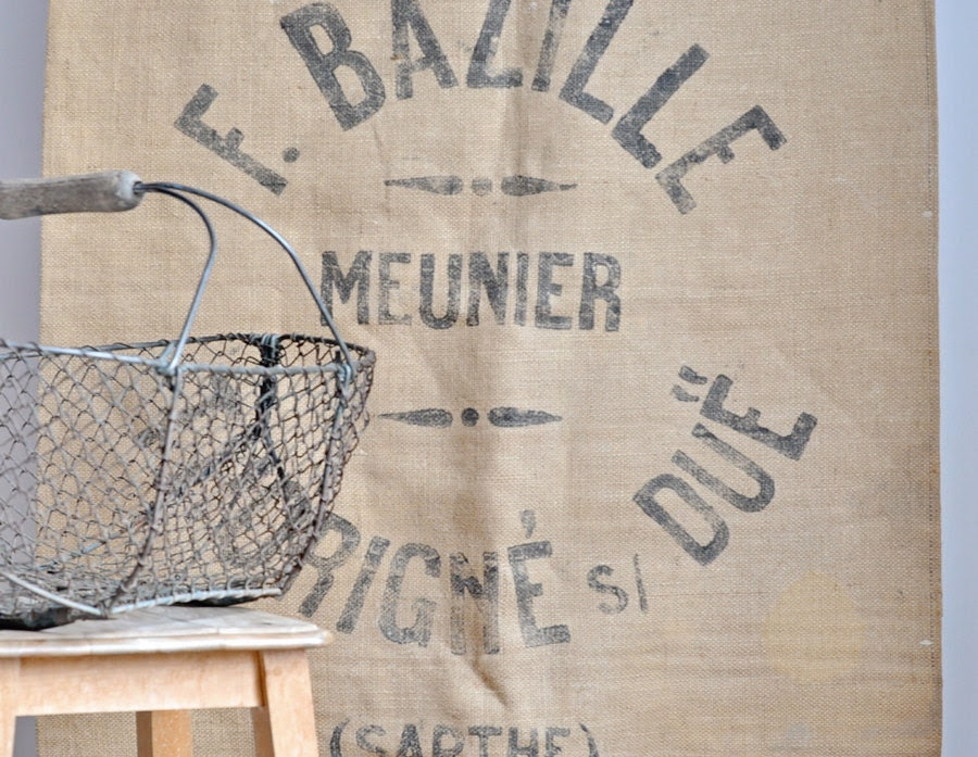 rustic vintage french grain sack in burlap
