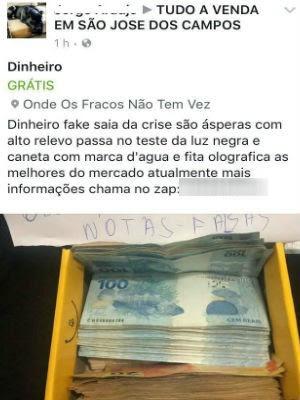 Dinheiro é vendido em rede social em São José (Foto: Reprodução/Facebook)