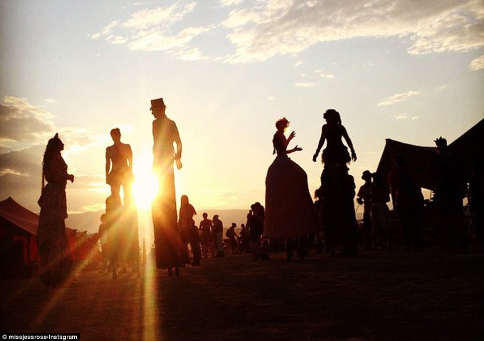 Wonderland: The start of the Burning Festival was postponed by rain but by Tuesday morning the site in the middle of the Black Rock Desert in Nevada was filling up