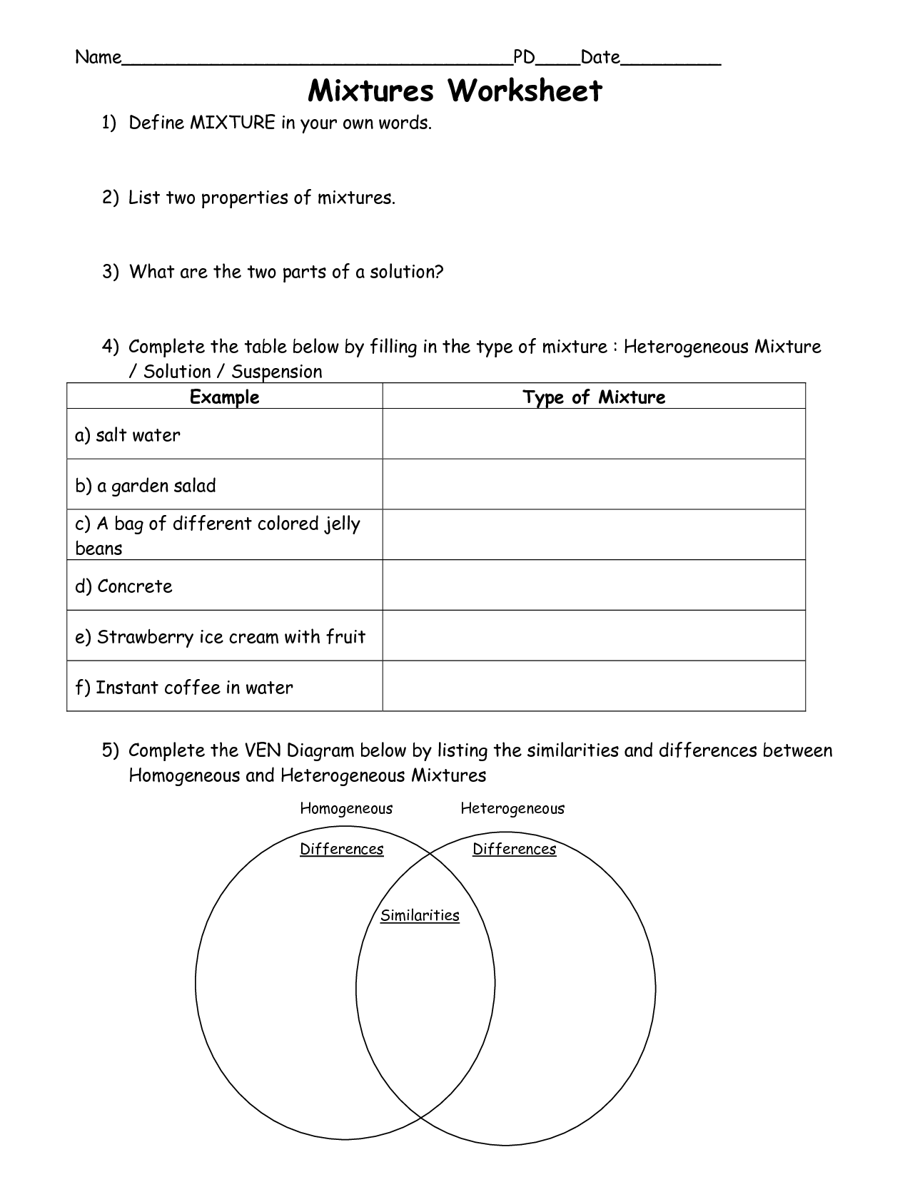 11 Best Images of 5th Grade Science Mixtures And Solutions Worksheets  Mixtures and Solutions