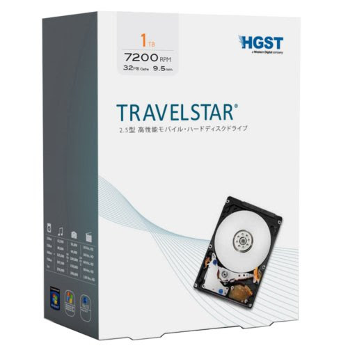 HGST(エイチ・ジー・エス・ティー) Travelstar 1TB パッケージ版 2.5インチ 7200rpm 32MBキャッシュ SATA 6Gb/s 【3年保証】 0S03565