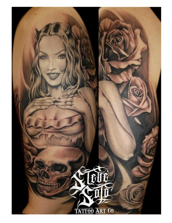 Skull And Pin Up Girl Tattoo On Half Sleeve By Steve Soto